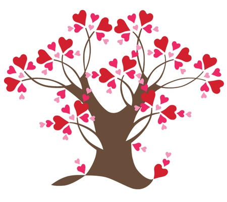 Decorative love tree with hearts, vector illustration Illustration