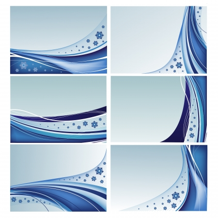 Set of abstract blue backgrounds with snowflakes in vector