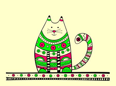 ethno: Illustration of cat, produced in ethno style with the unique colour
