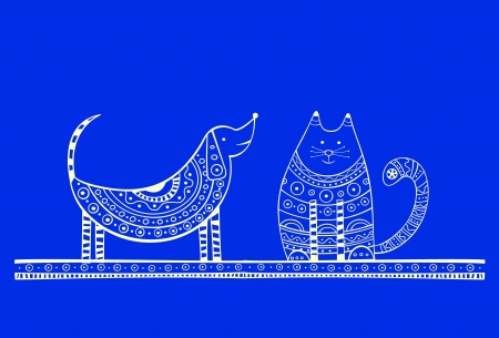 puppy and kitten: Blue illustration of dog and cat, produced in ethno style with the unique colour
