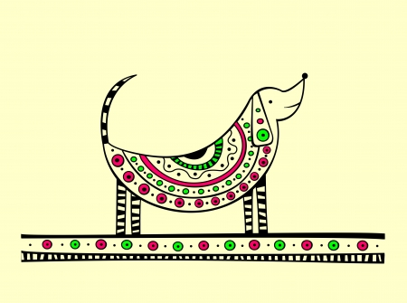 Illustration of dog, produced in ethno style with the unique colour