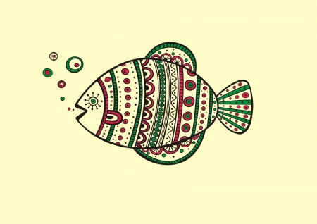 Illustration of fish, produced in ethno style with the unique colour Illustration
