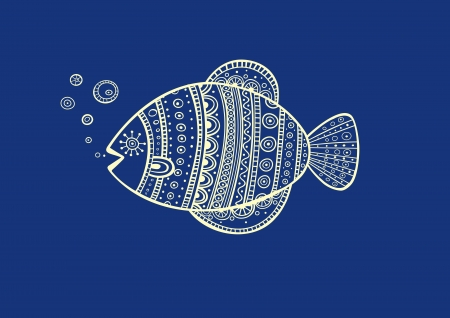 Illustration of blue fish, produced in ethno style with the unique colour
