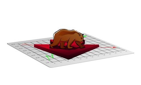 oso blanco: Empresas ilustración gráfica con flecha hacia abajo del tipo de cambio o de mercado de valores