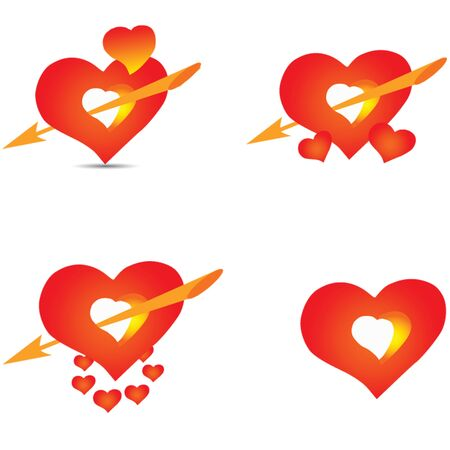Set of red hearts with Cupid s arrow, vector illustration