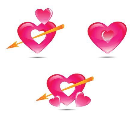 Set of pink hearts with Cupid s arrow, vector illustration