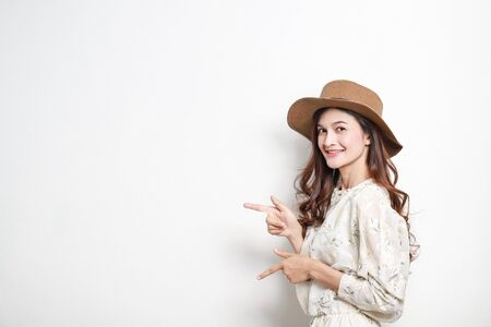 Portrait of asian woman presenter on white background.