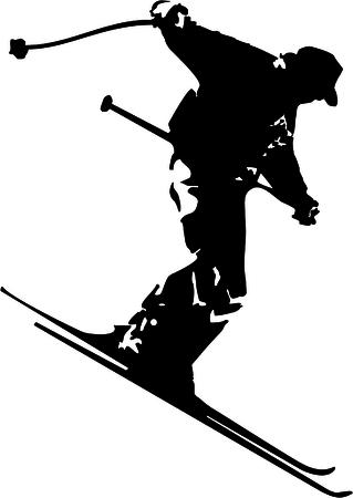 skiing silhouette Ilustração