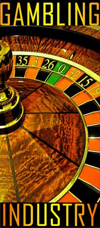 an artistic poster about gambling industry with a roulette wheel Stock Photo