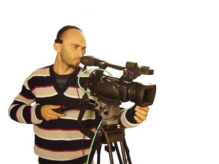 video still: image with a television cameraman working with camera