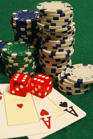 poker hand chips two aces Stock Photo