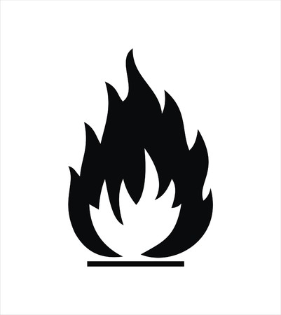 black highly flammable sign isolated on white Stock Vector - 4294152