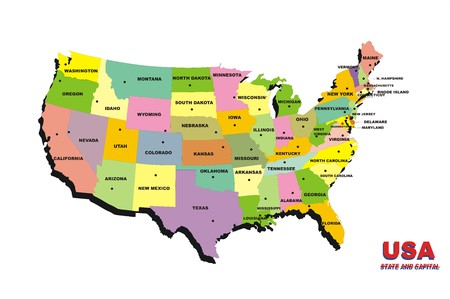 map of United States of America on the white background Stock Photo