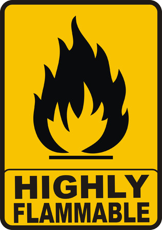 Highly Flamable Color Sign Stock Vector - 4316221