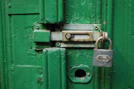puerta verde: Bloqueado Green Door Foto de archivo