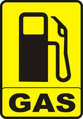 fossil fuel: yellow gas pump caution sign illustration Stock Photo
