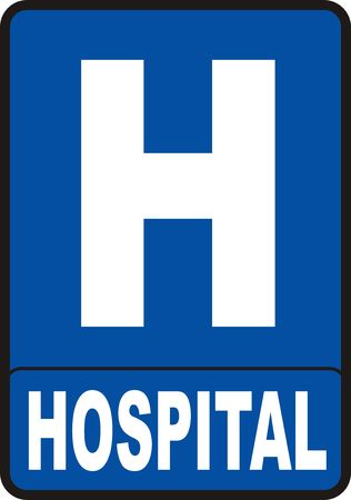 2d render of red Hospital sign isolated on white