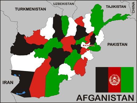 afghanistan flag: political map of Afghanistan country with flag