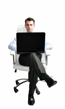 Business Man Seat In A Chair with laptop