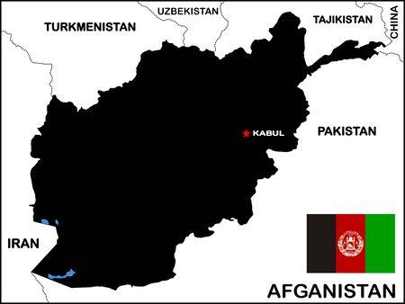 Afghanistan Map Black Banco de Imagens