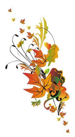 オレンジ、ゴールドの色調で抽象的な秋の境界線