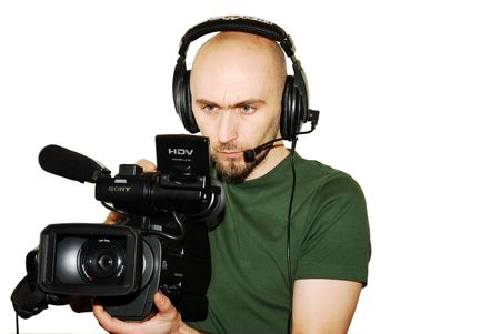image with a television cameraman working with camera photo