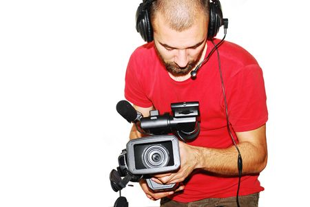 image with a television cameraman working with camera