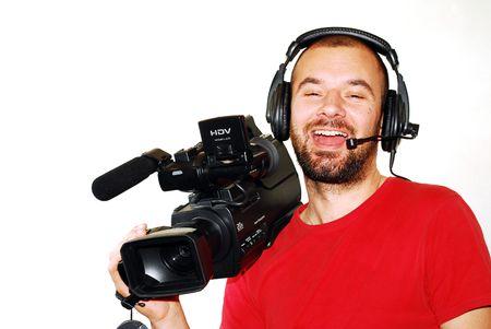 camara de cine: imagen con un camar�grafo de televisi�n trabajar con c�mara Foto de archivo