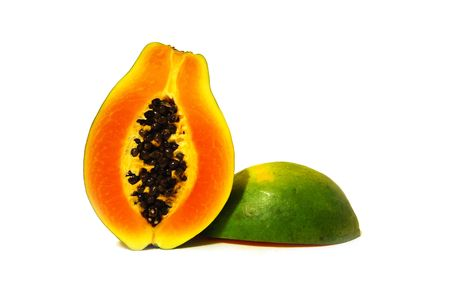 two nice tasty halves of papaya on white background