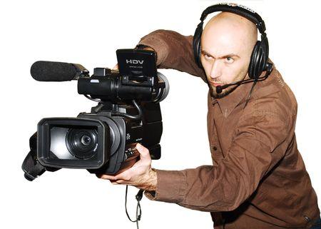 カメラでの作業のテレビ カメラマンの画像