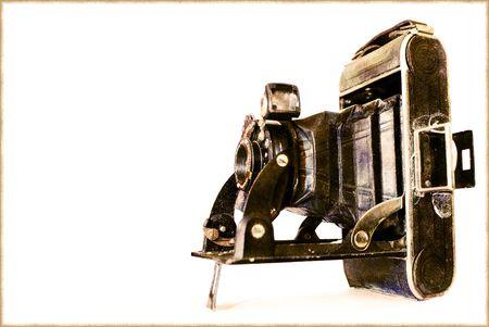 photgraphy: vintage old style photo camera isolated on white background