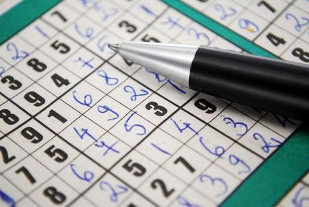 A partially filled sudoku puzzle with pencil Sudoku Banco de Imagens