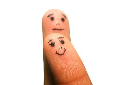 Funny Finger mit Augen und Mund isolated on white  Standard-Bild