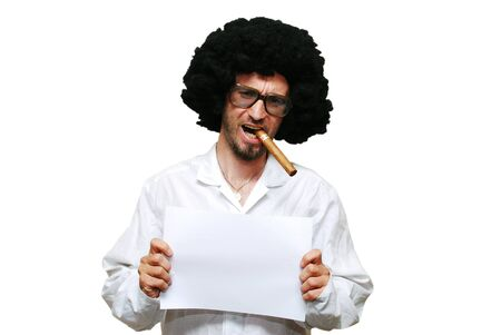 Mug shot of young scientist with cigar islated on white Stock Photo - 7334123