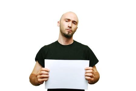 Mug shot of young casual man islated on white