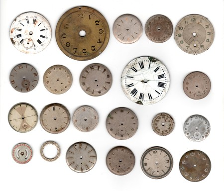 many vintage pocket watch dial only over white background Foto de archivo