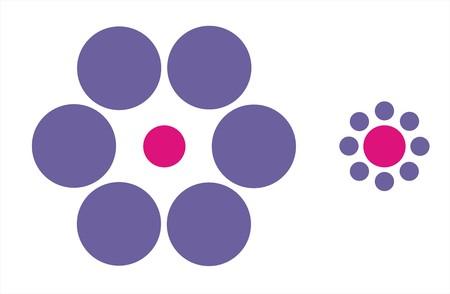 the pink dots have the same size but it seems different Foto de archivo