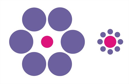 the pink dots have the same size but it seems different Stock Photo - 8194969