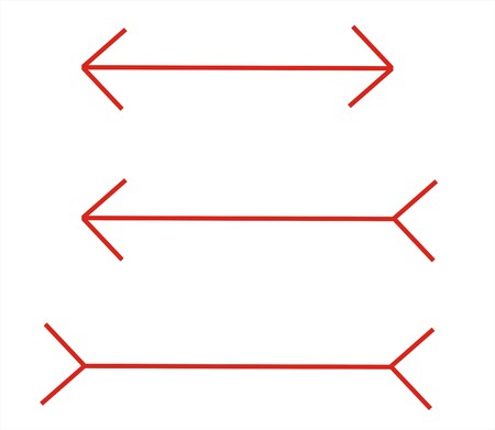 cognitive: these lines have the same size but it seems different   Stock Photo