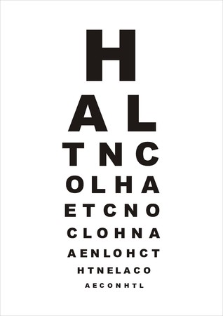 see a doctor: vector eye test chart with letters on white background