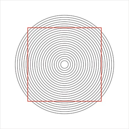 seem: concentric circles that makes a normal square seem distorted