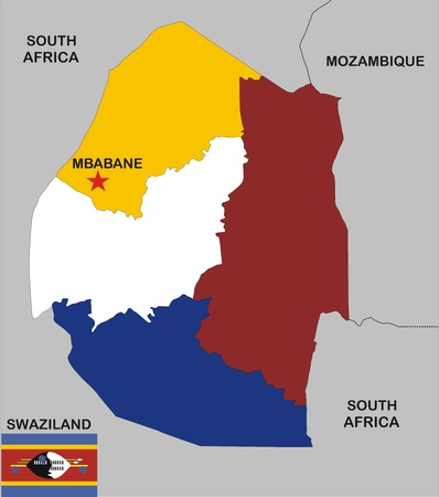 political map of Swaziland country with flag and regions Stock Photo - 8417915