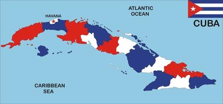 Mapa político del país de Cuba con vecinos y la bandera nacional Foto de archivo - 8522352