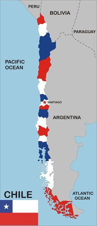 political map of chile country with neighbors and national flag Stock Photo - 8990759