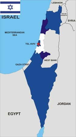 tel: political map of israel country with neighbors and national flag