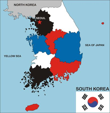 political map of south korea country with neighbors and national flag Stock Photo - 8990760