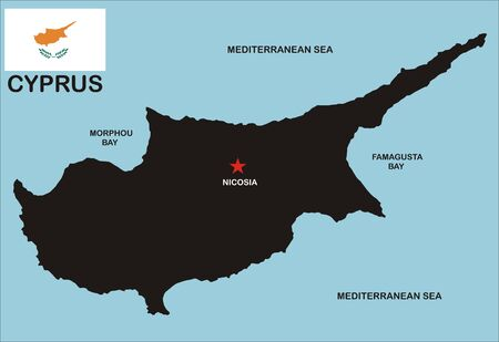 political map of cyprus country with neighbors and national flag Stock Photo - 8923055