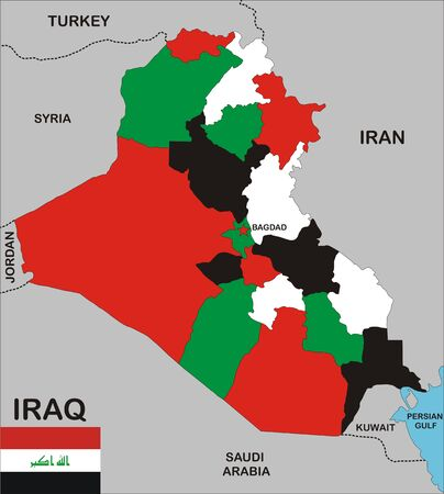political map of iraq country with neighbors and national flag Stock Photo - 8923059