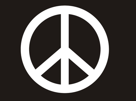 woodstock: traditional illustration of peace symbol in black and white image