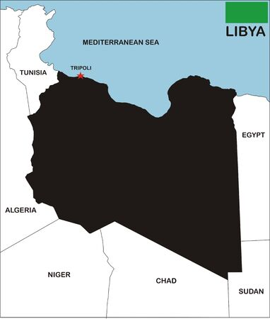 political map of libya country with neighbors and national flag Stock Photo - 9111413